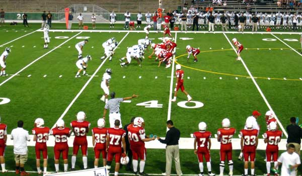 "Lodi High School ""Flames"" football in the red."