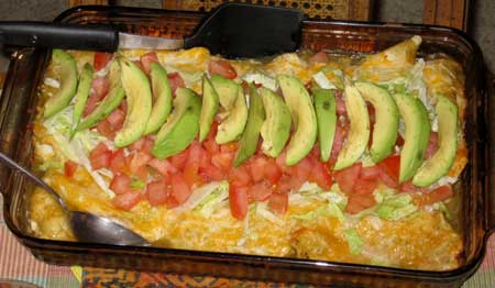 Handmade chicken enchiladas