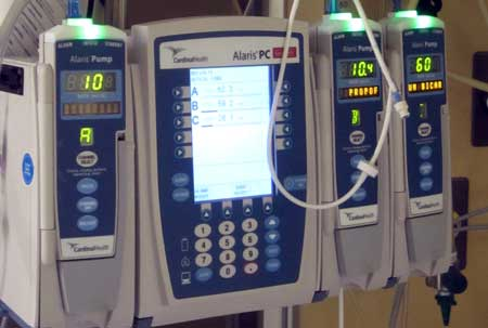 These are infusion pumps which regulate the flow of fluids into his blood