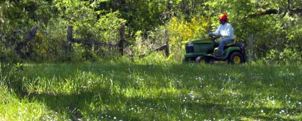 Mowing with a John Deer