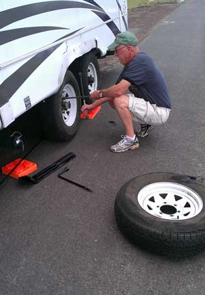 Bummer! Another blowout on Ralph's trailer