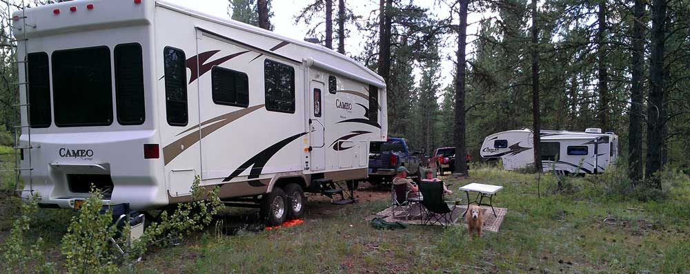 Camping in the National Forest above Sumpter Oregon