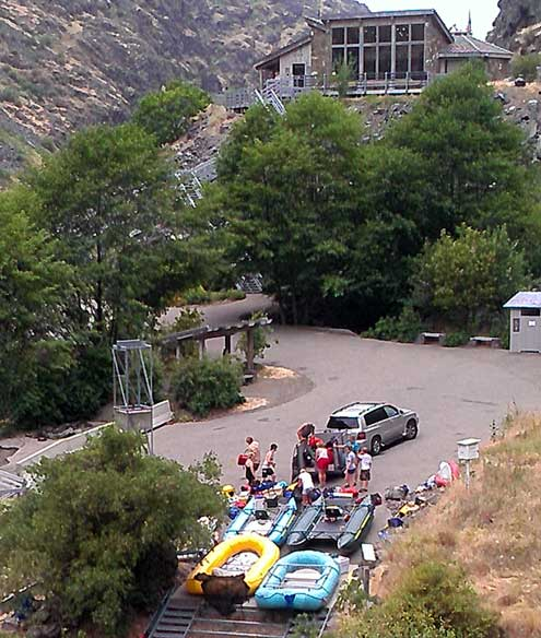 Rafters getting ready to launch into Hells Canyon on the Snake River