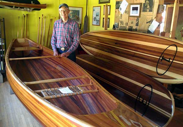 Greg creates handmade cedar strip conoes and other personal boats