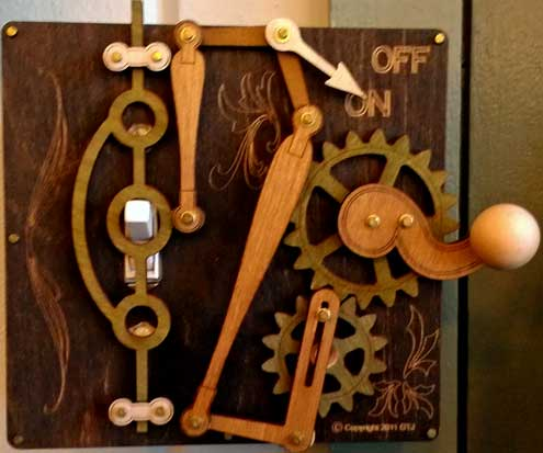 Wooden mechanical switch plate cover