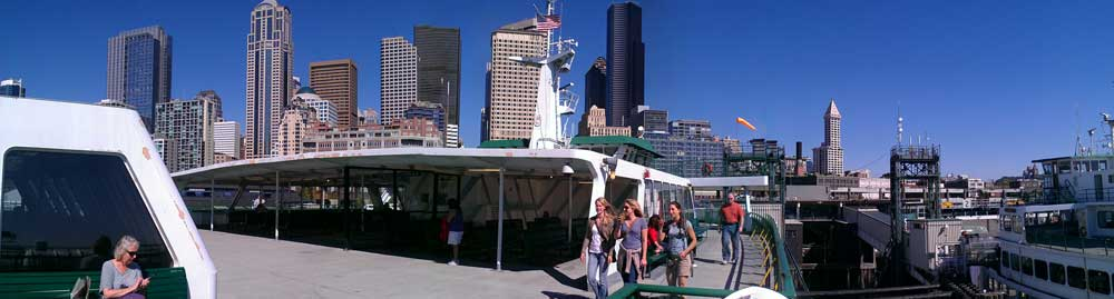The view of the Seattle skyline from the top of the ferry