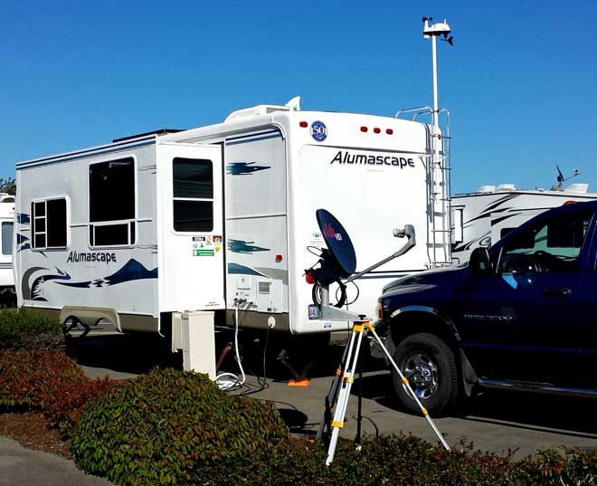 Parked at the Mill Casino RV Park for a Chapter 9 rally, Behind: Unger's floating restaurant in Winchester Bay