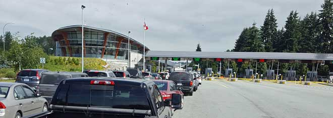 Waiting in line at the Canadian border