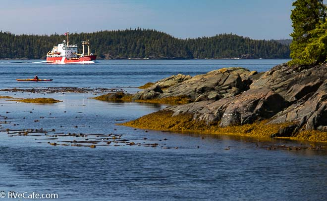 Spotted this coast guard ship headed east as it passed Telegraph Cove.