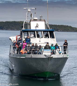 The Stubbs Island Whale watching boat returning to Telegraph Cove