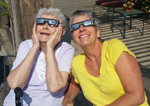 My Mother and sister enjoying the eclipse
