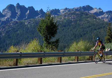 Cycling the Gold Lake Hwy with the Sierra Buttes in the background