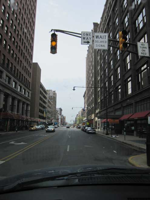 Driving through downtown Indianapolis to reach the Lucas Oil Stadium where the Colts play football
