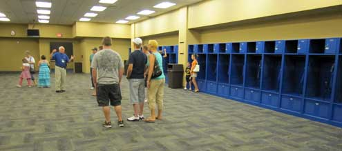 The visiting team locker room and shower room.