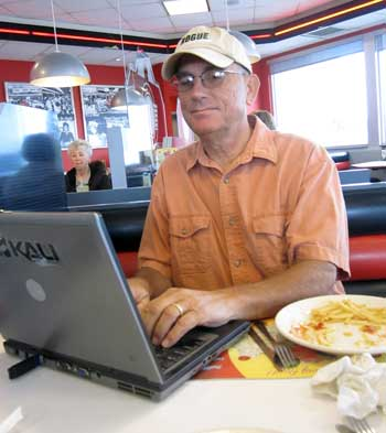 Dale at Steak and Shake getting free WiFi since our system is so unstable.