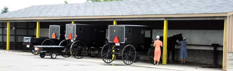 The Amish park at Wal-Mart ... a garage built especially for them