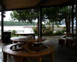 View toward the lake from the outdoor eating area at the restaurant.