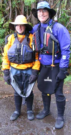 Dale and Mindy (Dale's daughter) ready to seakayak in freezing weather.