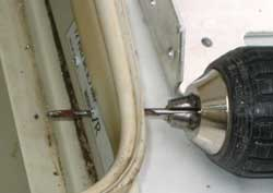 For the high speed fan cover, two sheet metal screw holes are drilled
